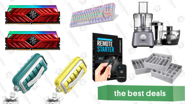 Saturday's Best Deals: One-Way Remote Starter Kit, Icebreaker Pop Ice Maker, 3-Pack Drawer Organizers, Cuisinart 3-in-1 Kitchen System, XPG 16GB DDR4 RAM, Redragon Gaming Keyboard, and More